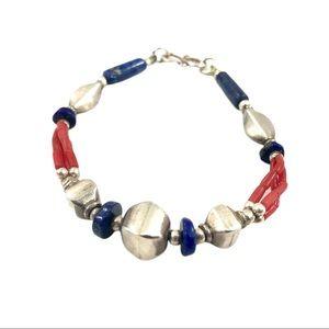 Vtg Sterling Lapis Coral Southwest Navajo Bracelet